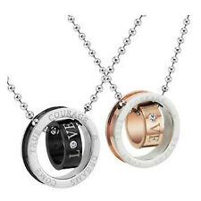 Catenina collana pendente acciaio titanio love amore anello titanium steel ring