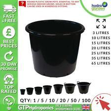 Round Plastic Grow Plant Pot Heavy Duty 3/10/15/20/25/35/65 Litres Qty: x1-100