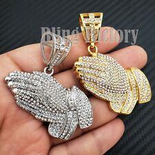 Iced Hip Hop Stainless steel Lab Diamond Praying Hands Fashion Charm Pendant