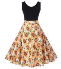 NEW Women XL & XXL Sleeveless BLACK with SUNFLOWERS Knee Length ROCKABILLY Dress