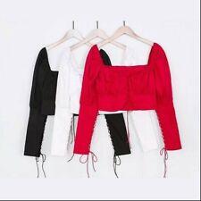 Women Off Shoulder Shirt Puff Sleeve Blouse Lolita Gothic Tops Steampunk NR9
