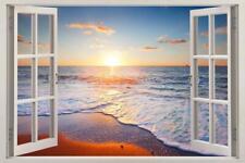 Beach Sunset 3D Window Decal Wall Sticker Home Decor Art Mural Waves H620