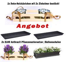 2 Pflanzenuntersetzer Balkonschale Hänge Holzkästchen m.2x Zinkeimer Deko Eimer