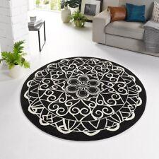 Design Velours Tapis Mandala Noir rond