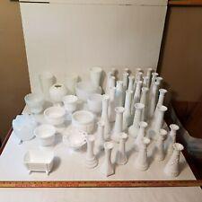 Milk Glass Vases Planters Compotes INDIANA WESTMORELANE ANCHOR HOCKING HOOSIER