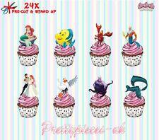 Little Mermaid 24 Stand-Up Taza de papel de oblea de pre-cortado Cake Toppers