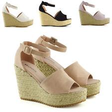 Womens Platform Wedges Ankle Strap Sandals Ladies Espadrilles Peeptoe Shoes Size
