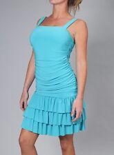 BEAUTIFUL DRESS BLUE CARIBEAN LYCRA/SPANDEX SLEEVELESS SOLID LAST TANGO USA