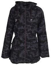 New Womens Camouflage Zip Up Parka Hooded Raincoats Showerproof Jackets 18-24