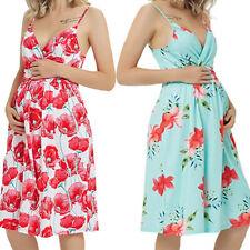 Women Maternity Sleeveless Sundress Pregnant Floral Sexy Vest Strap Floral Dress