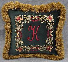 Personalized Fringed Christmas Pillow made w Ralph Lauren Green Velvet Fabric