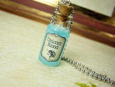 Unicorn Blood Glass Bottle Necklace - Cork Vial Pendant Charm - Kawaii Potion