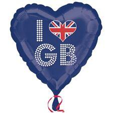 I LOVE GB Gran Bretaña Bandera Reino Unido 45.7cm Globo metalizado de Helio