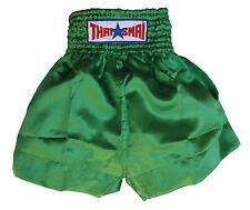 Short boxe Thaïlandaise / Muay Thai THAISMAI satin vert toutes tailles