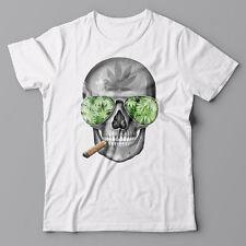 Funny male/unisex T-shirt skull with marijuana cannabis