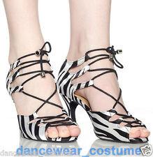 New Ladies Women Satin Zebra Ballroom Latin Salsa Dance Shoes Heeled Shoes US5-9