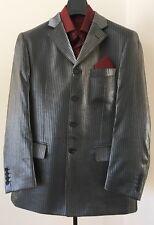 Men's Formal Elegant Stylish Silver Pinstripe 2 pc Jacket Trousers Suit 40 44 48