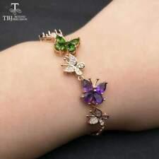 Colorful butterfly Gemstones 925 Sterling Silver Bracelets