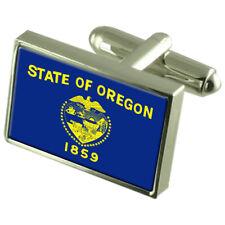 Oregon Bandera Gemelos Clip De Corbata Insignia de Solapa Conjunto de Regalo Grabado EE. UU. Estado WFC327