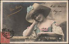 ARTISTE / Mlle VERA LEDOT , Buste avec CHAPEAU en 1905