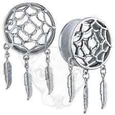 Plata Dreamcatcher Lindo Feather Colgante Colgante Atrapasueños oreja tapón túnel