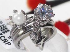TK1497pb SOLITARIO PERLA Charm Dangle 3PC Set Matrimonio simulato anello di diamanti