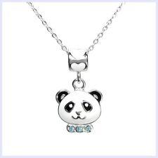 "Enamel Blue CZ Panda Bead Charm Pendant STR Silver Chain Necklace 14"" to 16"""