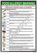 HEALTH SAFETY FOOD ALLERGY ALLERGEN WARNING A4 A3 POSTER SIGN RESTAURANT PUB BAR