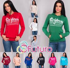 Women's Hoodie California Print Long Sleeve Jumper Sweatshirt Top Size 8-12 8396