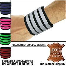 Mens New Press Stud Adjustable UK Real Leather Handmade Cuff Bangle Wristband