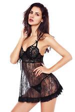 Nuisette courte dentelle noire lacée sur les seins sexy glamour rétro
