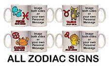 ZODIAC SIGN PERSONALISED MUG & COASTER (Z1) 11oz + 15oz MUG
