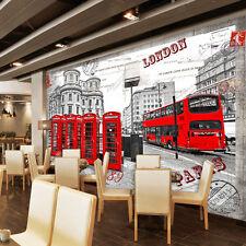 3D Street red bus 668 WallPaper Murals Wall Print Decal Wall Deco AJ WALLPAPER
