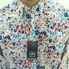 Relco Multi Colour Floral 100% Cotton Slim Fit Mod Retro Shirt, Button Down.