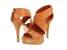 Pour La Victoire Tifara Saddle Brown Vegetal heels sandal Stacked heel platform