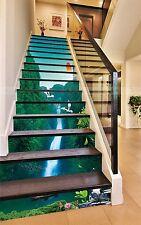 3D Sun Stream Trees Stair Risers Decoration Photo Mural Vinyl Decal Wallpaper CA