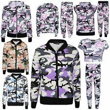 Kids Girls Camouflage Print Crop Top Legging Jacket Tracksuit Age 7-13 Years