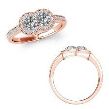 2.25 Carat Diamond Forever Us Two 2 Stone Ribbon Eternity Ring 14K Rose Gold