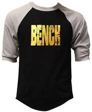 Men's Gold Foil Grunge Bench Black Baseball T-Shirt USA Workout Beast Gym Tee