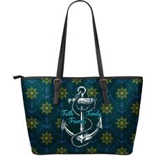 Sea Sailor Navy - Faith Family Friends - Leather Tote Bag Christmas Gift