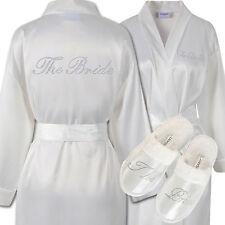 Strass La Mariée Satin Peignoir & Spa Pantoufles Ensemble Kimono Robe de chambre