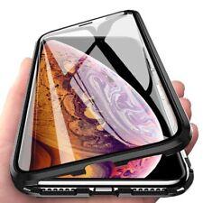 360° Magnet Slim Metall Case mit Panzer Folie Schutz Tasche Handyhülle Schale