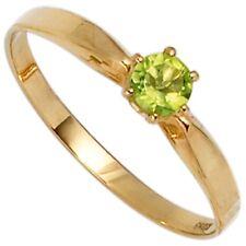 Ring Damenring mit Peridot grün & 585 Gold Gelbgold schlicht Goldring