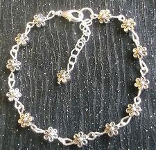 Hand made Tibetan silver daisy chain flower bracelet 7-8in
