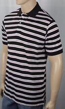 David Chu Lincs Brown Cream Raspberry Striped Classic Fit Mesh Polo Shirt NWT