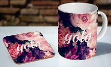 YOLO Floral Amazing Tea / Coffee Mug Coaster Gift Set
