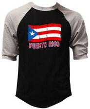 New Men's Puerto Rico Distressed Flag Black 3/4 Sleeve Baseball Raglan TShirt PR
