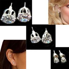 Ladies Trendy Silver Diamond Ear Studs Shiny Crystals Earrings Womens Jewellery
