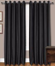 Black Faux Silk Curtains, 51 inch(130 cms) Wide, Chose : Plain Top/Length/Lining