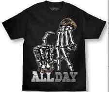Mafioso All Day Gang Signs Skeleton Hand Urban Street Punk Tattoo T Shirt M-4Xl